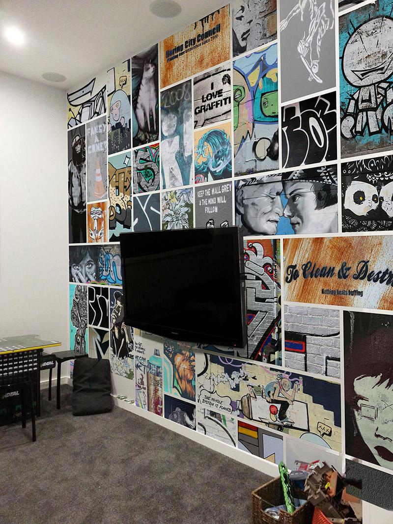 graffiti collage printed wallpaper vinyl mural